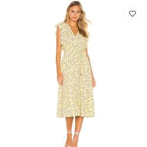1.State Flounce Sleeve Wrap Dress in Honeysuckle
